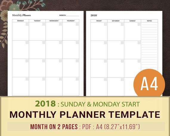 Monthly Planner Template Printable Planner Inserts A