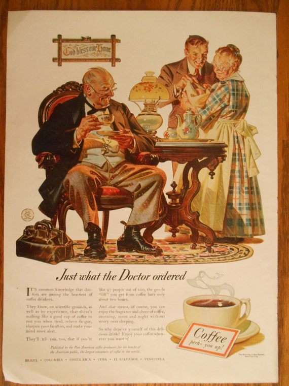 Ships Free In US Vintage 1940s Coffee Advertisement Doctor