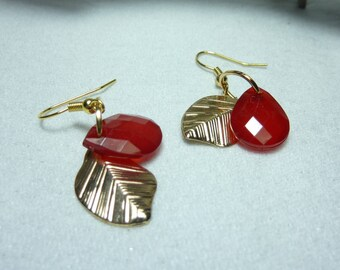 """red leaf"" gold earrings jewelry"