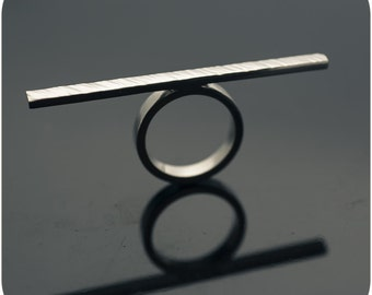 Sterling Silver Hammered Bar Ring