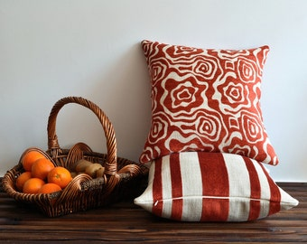 Orange Tribal Pillow Cover - 20x20 Pillow Covers - Orange And White Cushion - Shabby Chic, Throw Pillow, Accent Pillow