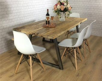 Industrial Dining Table Rustic Solid Antique Kitchen Farmhouse Vintage Reclaimed Handmade In Britain UK A