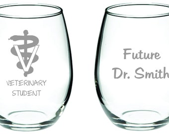 Vet Student Glass Wine Beer FREE Personalization