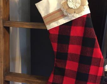 Christmas Stocking-red and black-lumberjack-muslin-Burlap-Ready to Ship