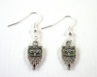 Owl Earrings - Silver Owl Earrings - Brownie Earrings