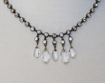 Vintage 1930's Czech Chandelier Crystals Necklace with Bezel Set Rhinestones and Brass Shot Bead Chain