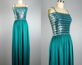 Vintage 1970s Dress 70s Teal Green Maxi Dress Evening Gown with Sequin Bodice Size M