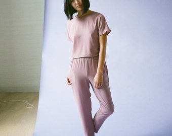 Pink Comfy Soft Crepe Pant with Pockets and Elastic Waistband