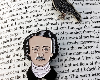 Edgar Allan Poe and Raven Enamel Pin