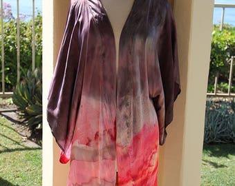 Grey and Red Handpainted Silk Kimono