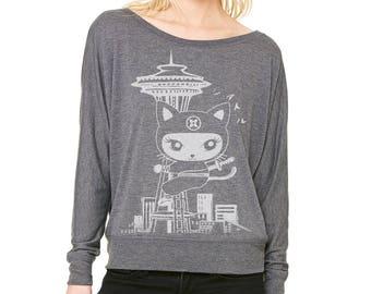 Seattle Kitty  Ladies' Flowy Long-Sleeve Off Shoulder T-Shirt