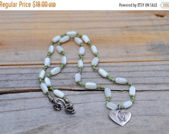 """CLEARANCE Mother of Pearl beaded necklace silver heart pendant religious fish pendant green cord fish silver heart pendant 18"""" - 365"""