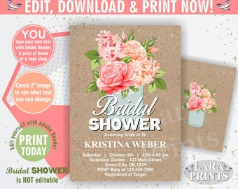 INSTANT DOWNLOAD / edit yourself now / Fall / Bridal shower / invitation / invite / Floral / Flowers / rose / pink / blush / mason jar /BSF4