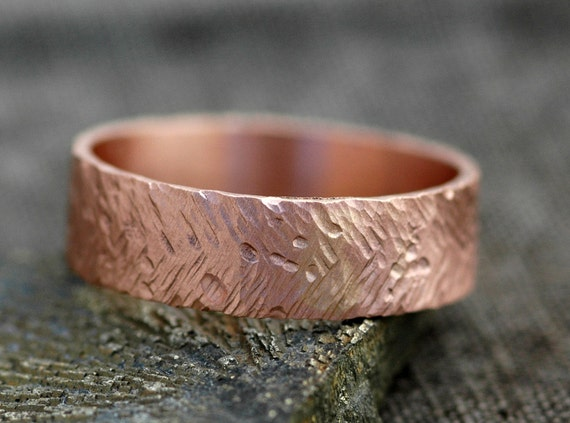 Rose Gold Band- Recycled Gold in Herringbone Texture- Custom Made Choose 14k or 18k White, Yellow, or Rose Gold