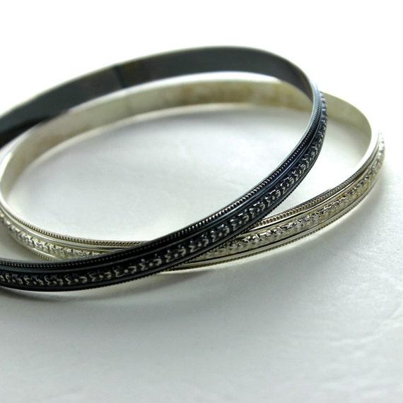 Daisy Floral Sterling Silver Bangle Bracelet- Polished or Oxidized Finish