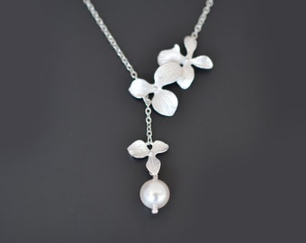 Orchid necklace, Flower necklace, Pearl necklace, Silver necklace, Lariat necklace, Wedding jewelry, Bridal necklace, tmj00063