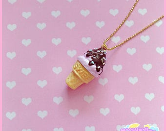 Pastel ice-cream cone necklace cute and kawaii
