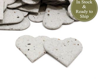 Recycled Newspaper Plantable Seed Paper Confetti Hearts  - READY-TO-SHIP - Wedding Favors, Bridal Shower Favors, Baby Shower Favors