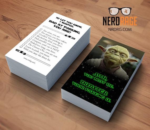 Bad parking yoda cards stack of 50 funny parking card star colourmoves