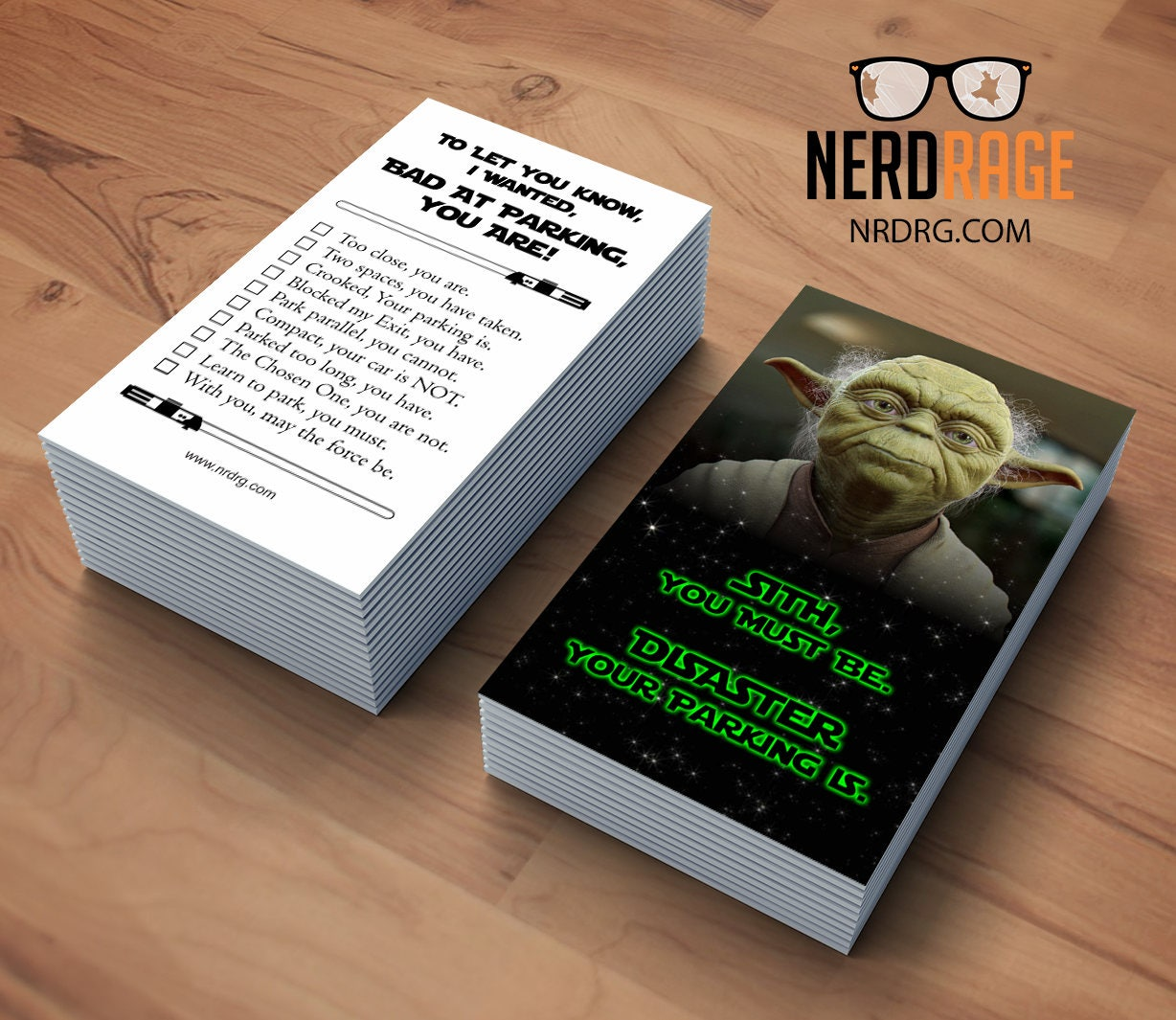 Card Stacking: Bad Parking Yoda Cards Stack Of 50 Funny Parking Card Star