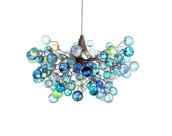 Lighting Chandelier with sea colored bubbles, hanging lamp with different size of bubbles for children room or dining room.