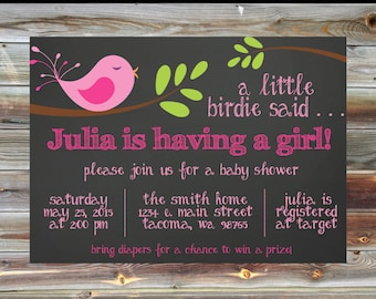 Bird Theme Baby Shower Invitation - Personalized Pink Baby Shower Invite - Custom Girl Baby Shower Invite - Bird Theme Baby Shower Invite