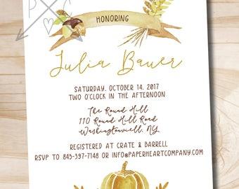 Watercolor Glitter Fall Pumpkin & Acorn Shower Invitation // Fall Shower // Bridal Shower // Baby Shower - Printable or Printed Invitations