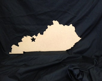 Wooden State Cutout with City Star