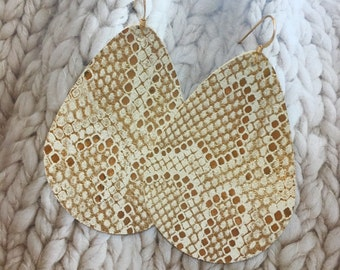 Rupert and Stella Leather Earrings - Champagne