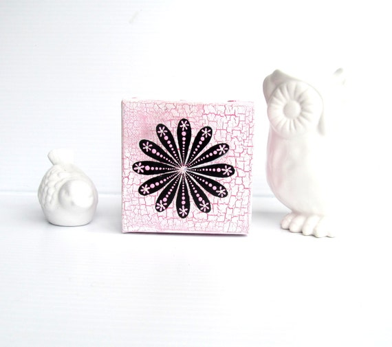 Pink white and Black art 4x4 painting on canvas Flower