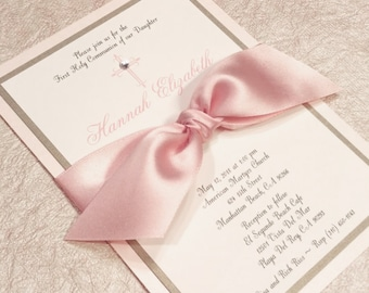Communion Invitation Girl Communion Blush and Gold Invitation Elegant
