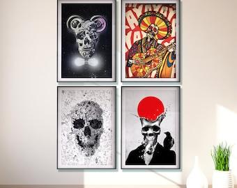 Set Of 4 Skull Prints, Original Skull Art Set Home Decor, Sugar Skull Art Prints, Wall Art Gifts, Skull Drawing Poster, Funny Skull Art Set