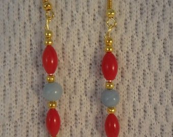 Red Coral and Amazonite Almost Christmas Natural Stone 22k Gold Earrings -  Ashley F072