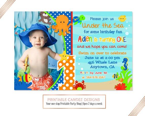 Under the Sea Birthday Invitation Ocean Birthday Under the