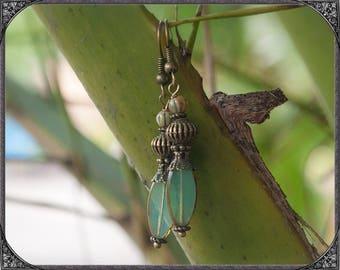 Transparent-blue-bronze Boho Earrings