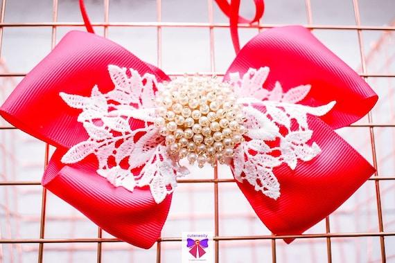 White and Fuchsia Pink Bow with Rhinestone - Baby / Toddler / Girls / Kids Headband / Hairband / Hair bow / Barette / Hairclip / Wedding