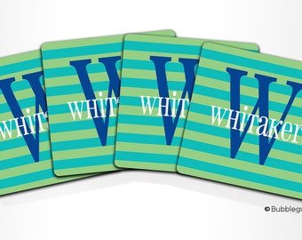 Custom PERSONALIZED Monogram COASTERS - Set of 4 - Green Teal Blue Stripes - any color name initials