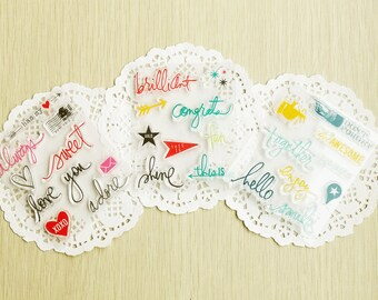SUPER VALUE! 3 Sets of Clear Stamps - Hello, Smile, Love, Adore, Congrats, Brilliant, Together, Enjoy...