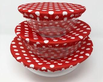 Reusable Bowl Covers, Red Polka Dots