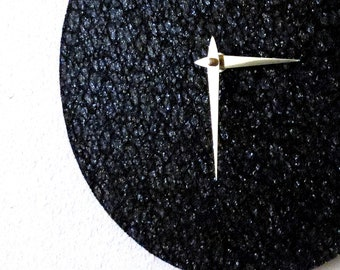 Black Glitter Clock, Home and Living, Minimalist Clock, Home Decor, Decor and Housewares, Unique Wall Clocks