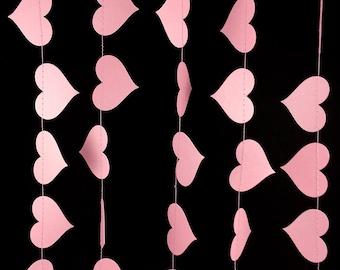 Light Pink Heart Garland - Valentine's Day Garland, Pink Paper Garland with Heart Shapes, Girls Birthday or Engagement Garland - GH049-47