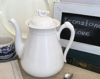 Vintage White Ironstone Coffee Pot
