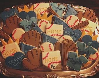 KC Royals - Baseball Decorated Sugar Cookies - 1 Dozen