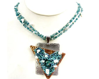 Blue and Green Statement Necklace with Beach Themed Pendant, Blue Topaz Gemstone, and Freshwater Pearls