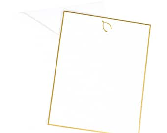 Wishbone Flat Note Card/Gold Foil Flat Notes/Gold Foil Wishbone/Gold Foil Lucky Notecards