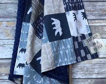 Woodland blanket, bear blanket, bear nursery, woodland crib bedding, arrow blanket, bear crib bedding, minky blanket, buck blanket, blue nur