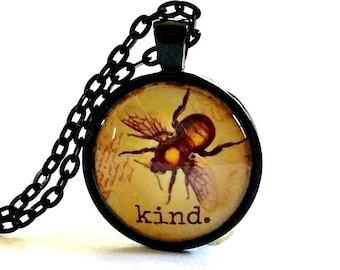 Be Kind Necklace | Bee Pendant | Gift Idea | Queen Bee |  Free Gift Box | Bee Kind