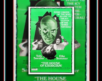 The HOUSE Of EXORCISM (1975) Telly Savalas Very Rare 27x40 Fold US One Sheet Movie Poster Original Vintage Collectible