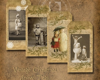 Vintage Christmas Snow Tags Sepia  Printable Digital Download