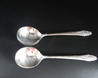 Two Community Plate Evening Star Soup Spoons Gumbo Spoons - 1950 Evening Star - Mid Century Flatware - Boullion Spoons - Silverplate Spoon